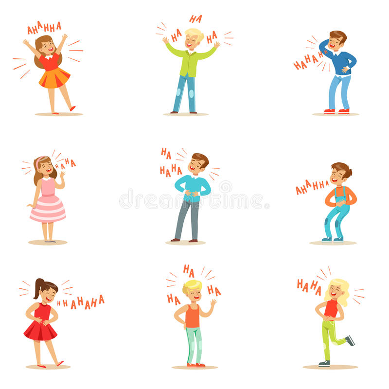 Kids Hysterically Laughing Out Loud Set Of Cartoon Characters With Laughter And Giggle Spelled In Text. Vector Illustrations With People Smiling And Having Fun royalty free illustration