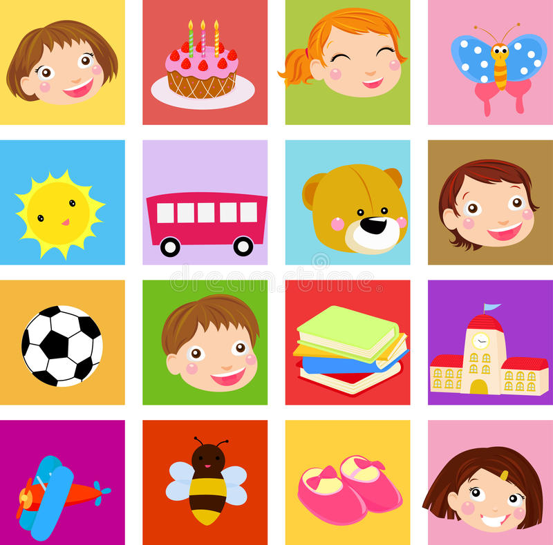 Download Kids icon stock vector. Image of book, cake, plane, butterfly - 21562077