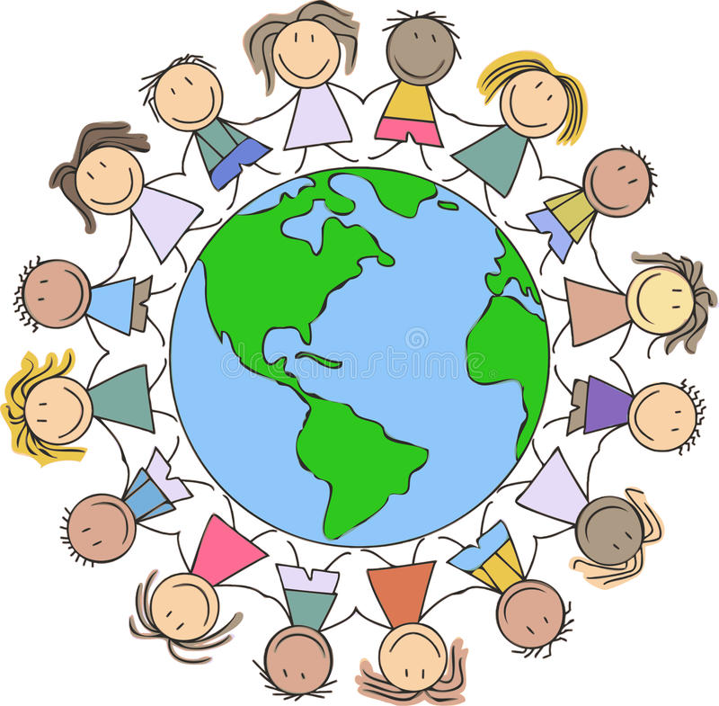 Kids illustration - children drawing / kids holding hands on world. Kids illustration - children drawing - kids holding hands on world stock illustration