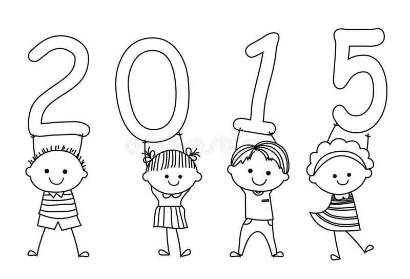 Kids and 2015 vector illustration