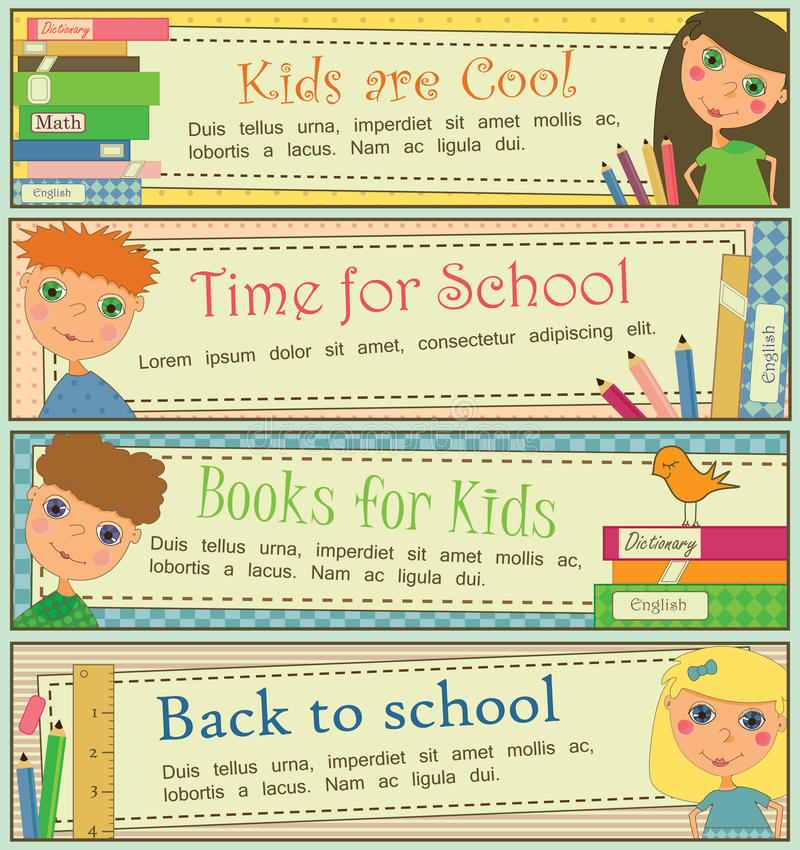 Free Kids In School Banners Stock Image - 14968591