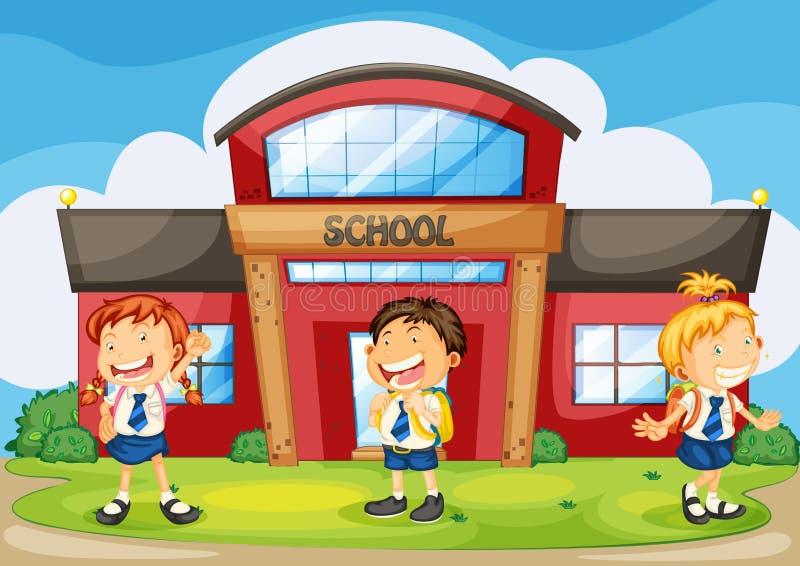 Download Kids infront of school stock vector. Illustration of illustration - 26941982