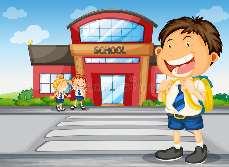 Kids infront of school stock illustration