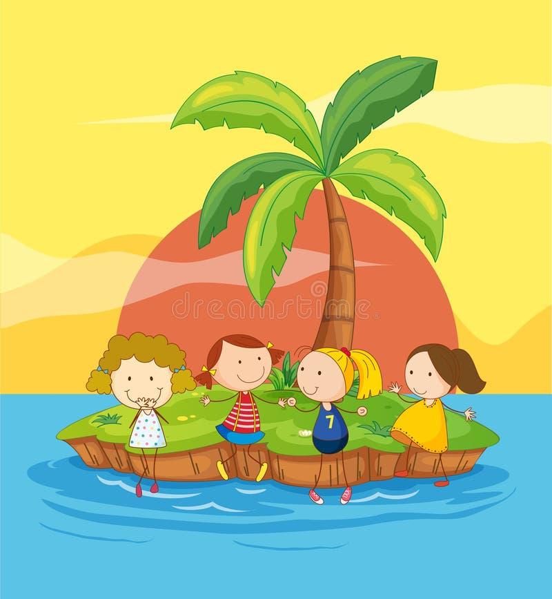 Kids on an island royalty free illustration