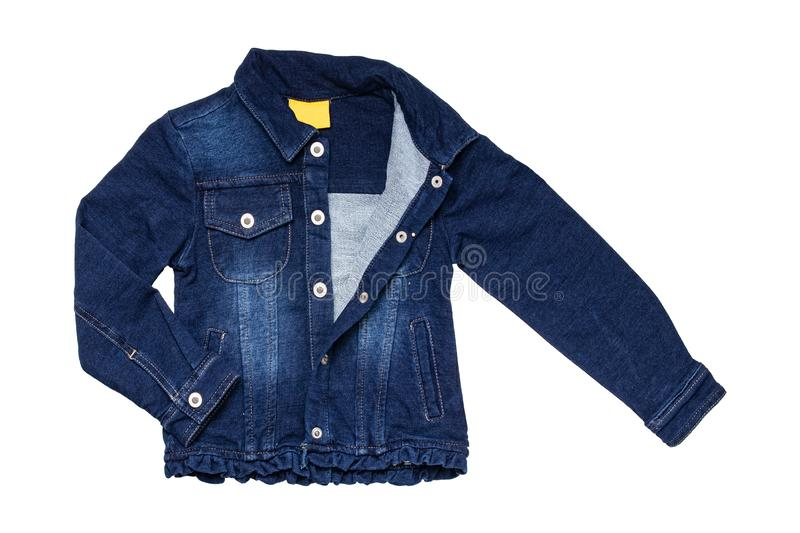 Kids jeans jacket isolated. A stylish fashionable denim dark blue jacket with a light blue lining for the little girl. Children royalty free stock image