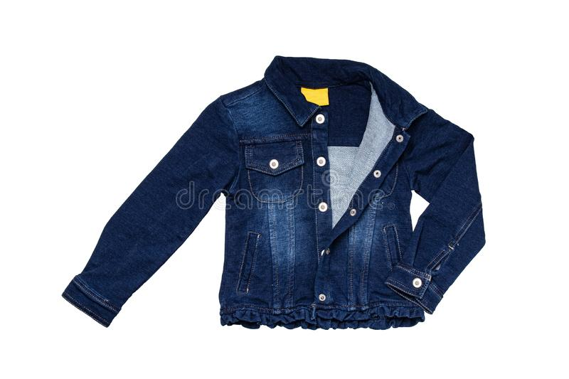 Kids jeans jacket isolated. A stylish fashionable denim dark blue jacket with a light blue lining for the little girl. Children royalty free stock photos