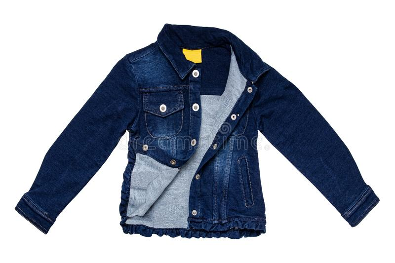 Kids jeans jacket isolated. A stylish fashionable denim dark blue jacket with a light blue lining for the little girl. Children royalty free stock photo