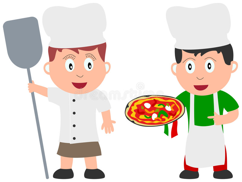 Kids and Jobs - Cooking [2]. A baker and a pizza chef (or pizzaiolo) on white background. Kids and Jobs series: you can find other jobs in my portfolio. Eps file