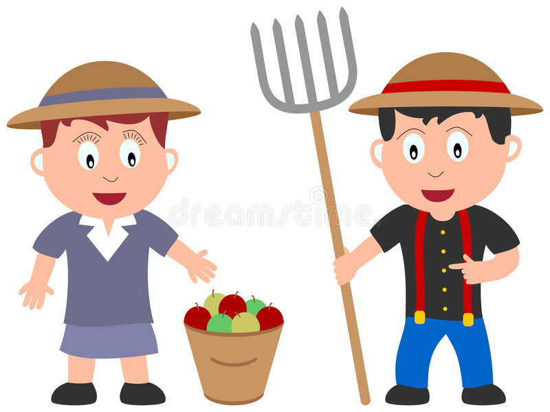 Kids and Jobs - Farmers. Two farmers (girl and boy) on white background. Kids and Jobs series: you can find other jobs in my portfolio. Eps file available