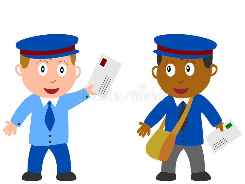 Kids and Jobs - Postman. Two postmen or mailmen isolated on white background. Kids and Jobs series: you can find other jobs in my portfolio. Eps file available