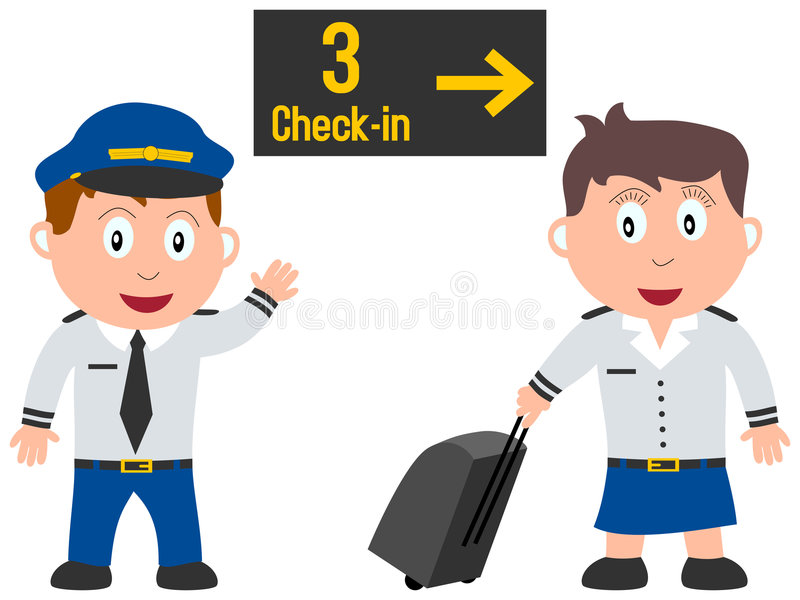 Kids and Jobs - Travelling. A jet pilot and an air stewardess isolated on white background. Kids and Jobs series: you can find other jobs in my portfolio. Eps