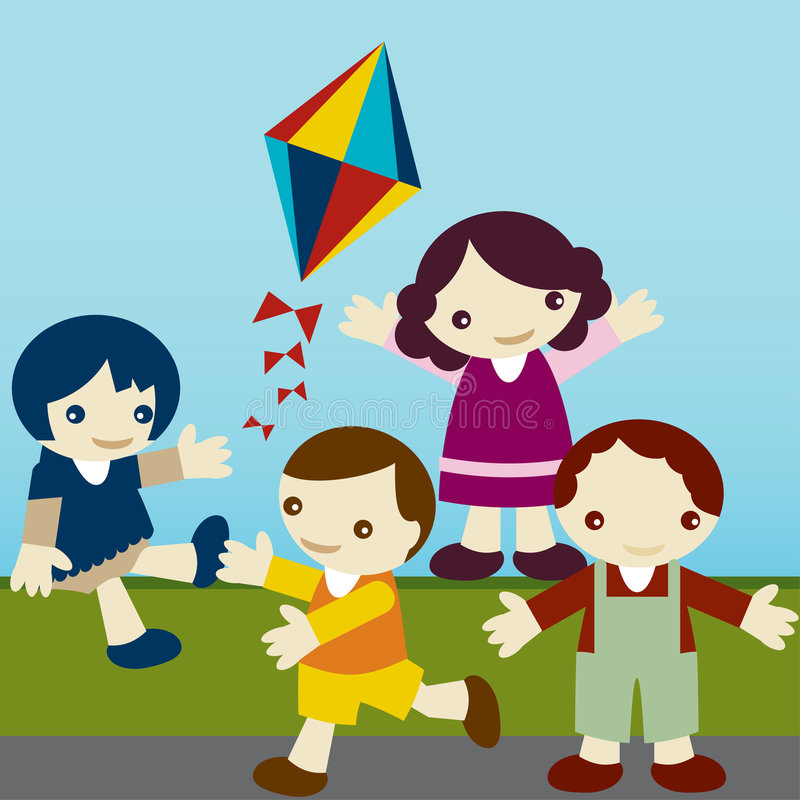 Kids_join royalty free illustration