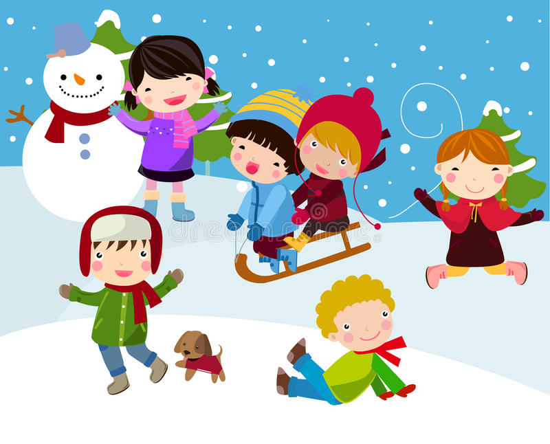 Kids join snow. Illustration of cute Kids join snow