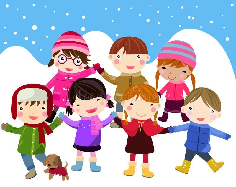 Kids Join Snow Stock Photo
