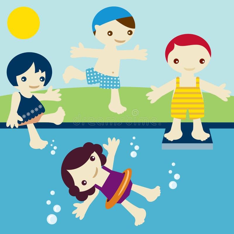 Kids join summer vector illustration
