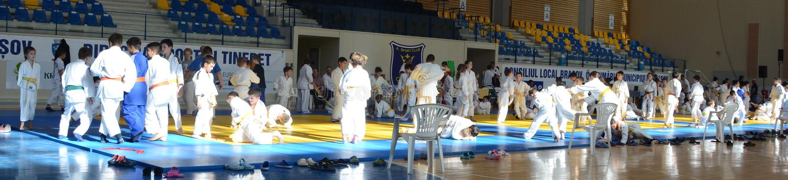 Kids Judo Cup 2016. The National contest Kids Judo Cup 2016 in Brasov royalty free stock photos