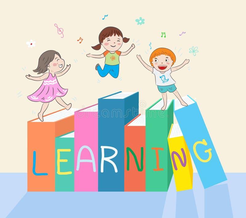 Kids jumping on books stock illustration