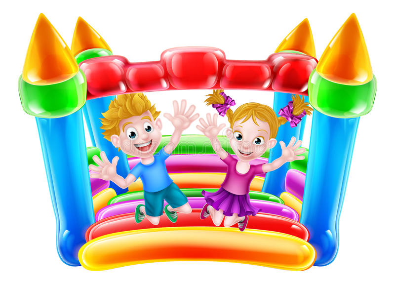 Kids Jumping on Bouncy Castle. Cartoon boy and girl jumping on a bouncy castle vector illustration