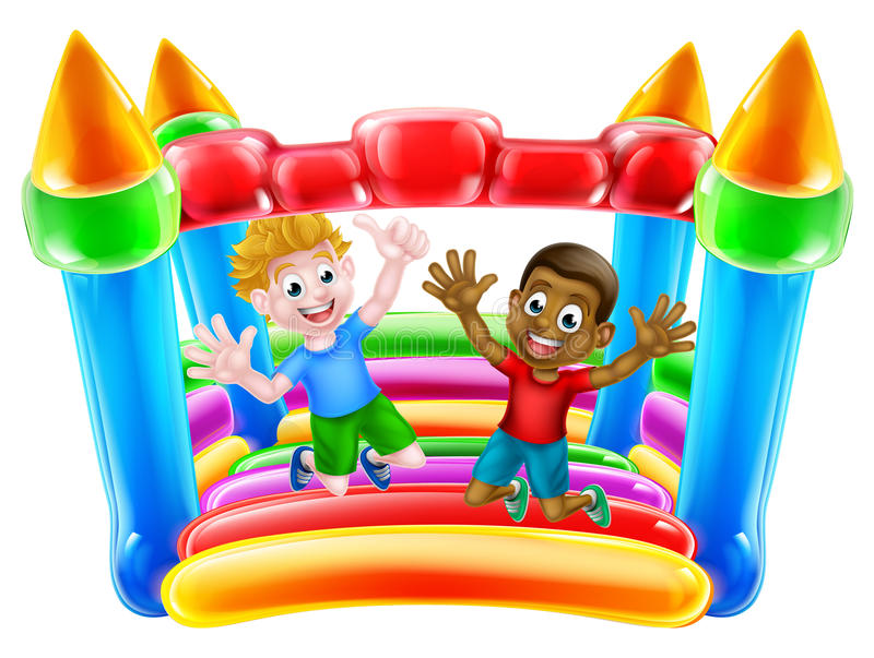 Kids Jumping on Bouncy Castle. Kids having fun on a bouncy castle or house stock illustration