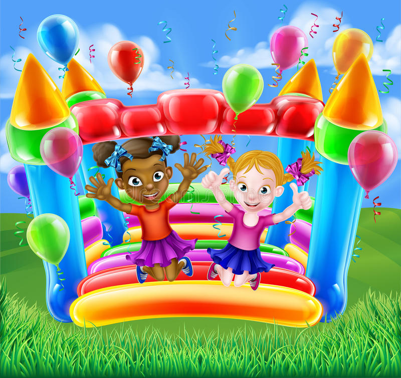 Kids Jumping on Bouncy Castle. Kids having fun on a bouncy inflatable castle or house vector illustration