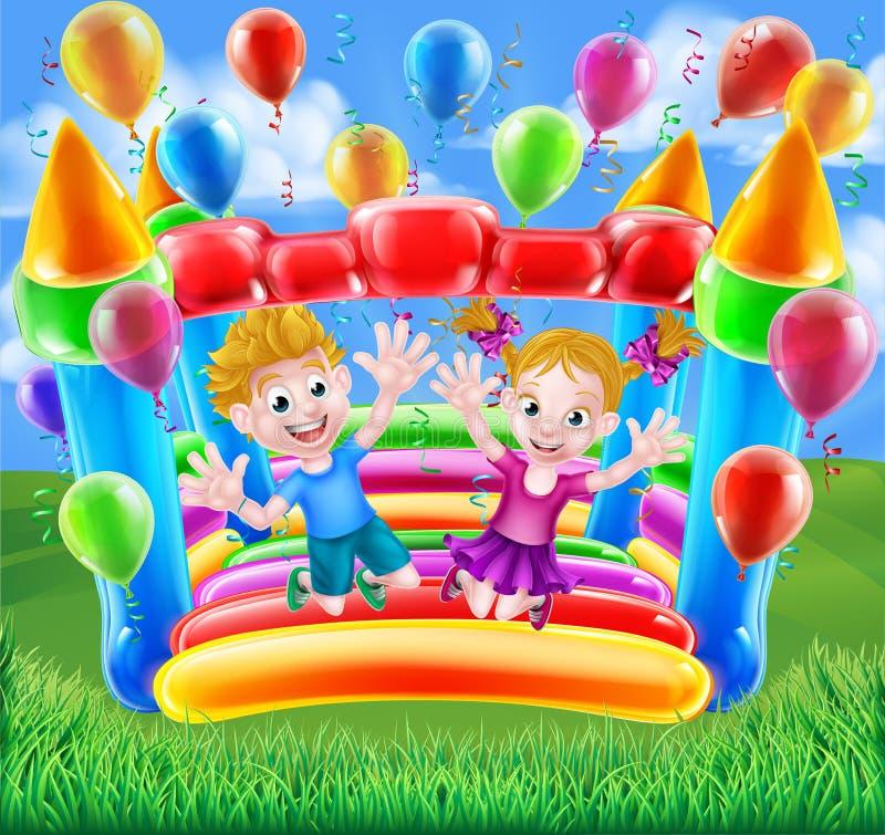 Kids Jumping on Bouncy Castle. Two kids having fun jumping on a bouncy castle with balloons and streamers stock illustration