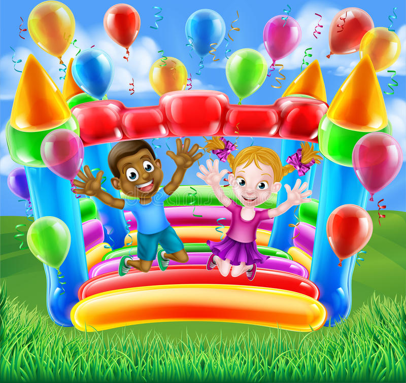 Kids Jumping on Bouncy Castle. Two kids having fun jumping on a bouncy castle house with balloons and streamers royalty free illustration