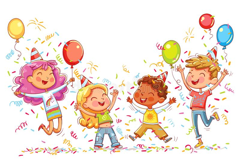 Kids jumping and dancing at birthday party. Happy group of children having fun at birthday party. Kids jumping and dancing on the background of balloons with stock illustration