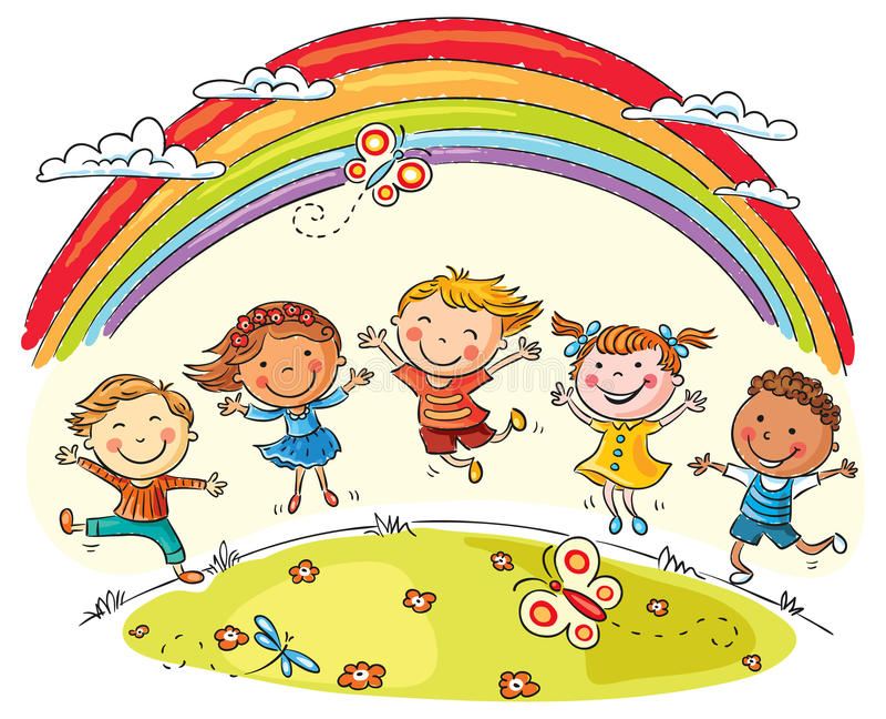 Kids Jumping with Joy under Rainbow. Kids jumping with joy on a hill under rainbow, colorful cartoon vector illustration