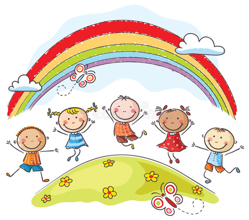 Kids jumping with joy underneath a rainbow vector illustration