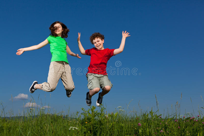 Download Kids Jumping Outdoor Royalty Free Stock Image - Image: 15962906