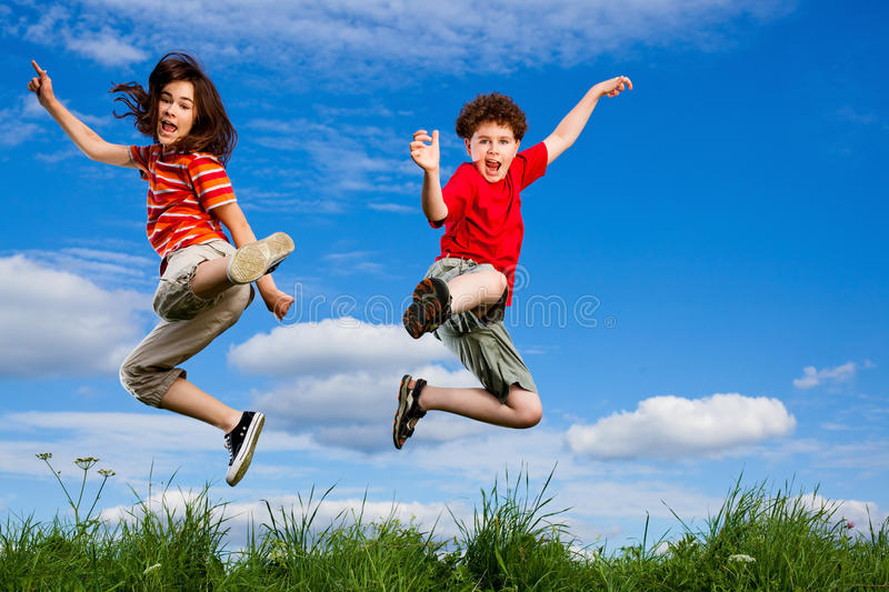 Download Kids jumping outdoor stock photo. Image of girl, family - 17775010