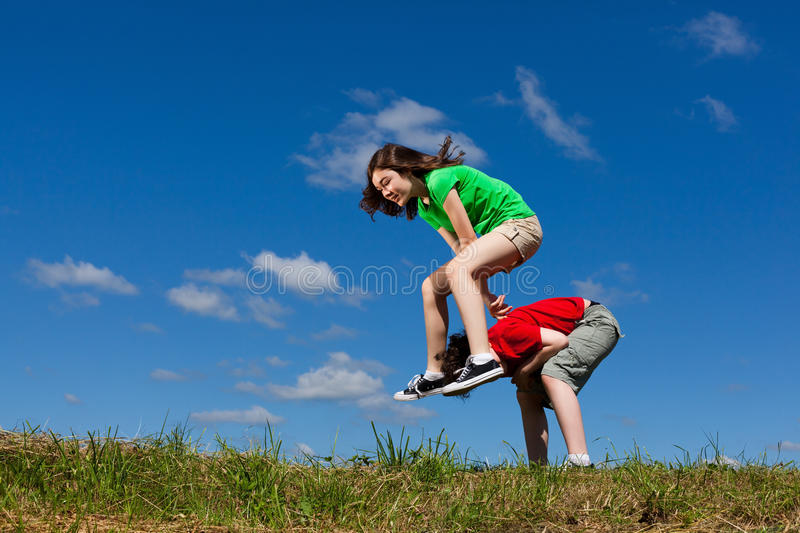 Download Kids jumping outdoor stock photo. Image of freedom, children - 23514672
