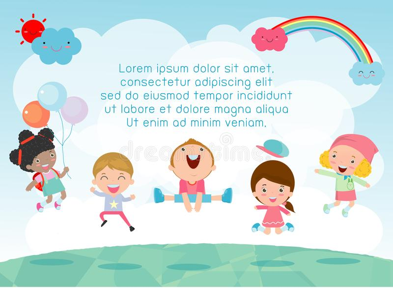 Kids jumping on the playground, children jump with joy, happy cartoon child playing on background stock illustration