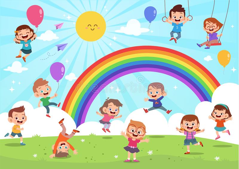 Kids jumping under rainbow colorful cartoon vector illustration
