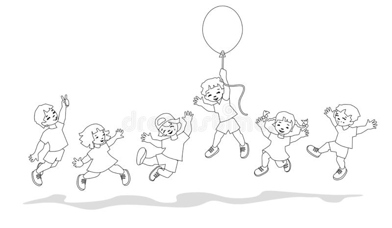 Vector illustration of happy kids jumping together. vector illustration