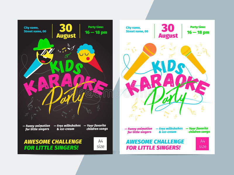 Kids karaoke party flyer with microphone and bright typography. Children music or song contest poster layout template design royalty free illustration