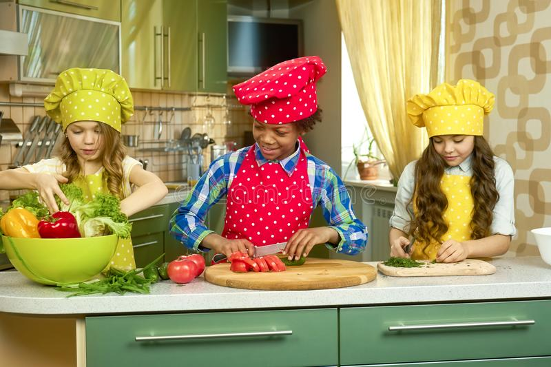 Kids in the kitchen. stock photos