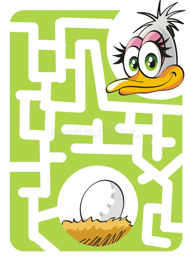 Kids labyrinth: mother ostrich and egg