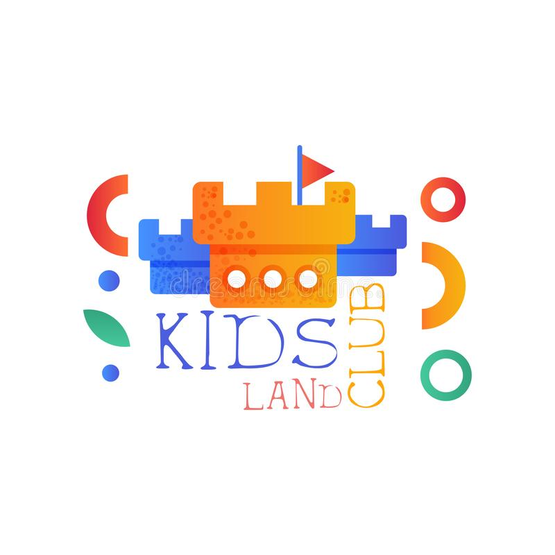 Kids land club logo original, creative label template, science education curricular club badge with castle towers vector stock illustration