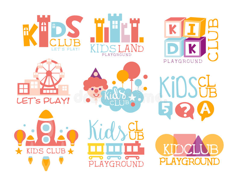 Kids Land Playground And Entertainment Club Set Of Bright Color Promo Signs For The Playing Space For Children. Template Promotional Logos With Toys And Rides royalty free illustration