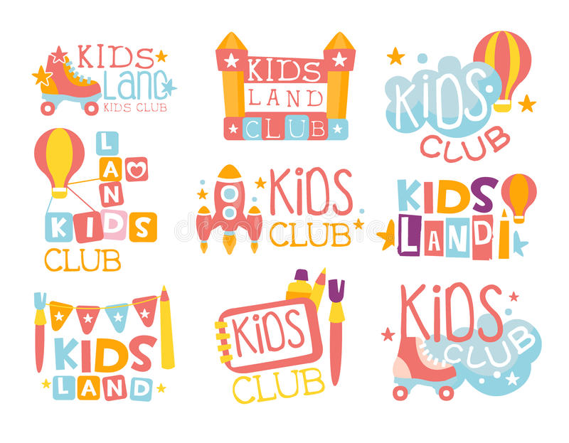 Kids Land Playground And Entertainment Club Set Of Colorful Promo Signs For The Playing Space For Children vector illustration