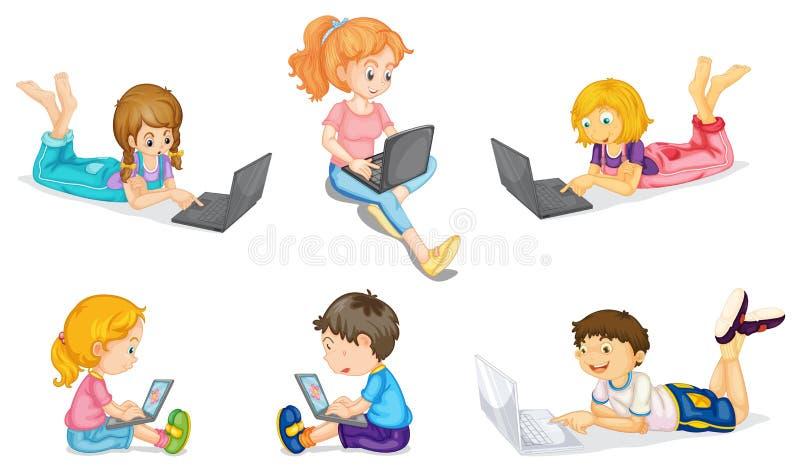 Kids with laptop stock illustration