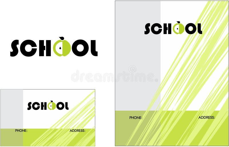 Kids Learning Center School Education Logo, Business Card 2 x 3.5, Flyer 4.25 x 5.5. Modern School Education Logo Business Card Flyer stock illustration