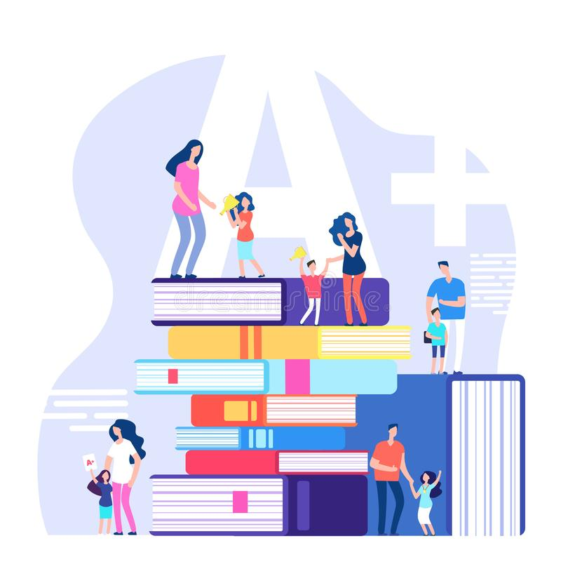 Kids learning concept. Excellent pupils, praising parents and teachers with huge books. Children school education vector. Illustration. Children with reward cup royalty free illustration