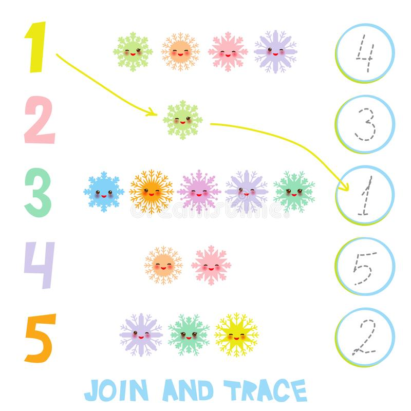 Kids learning number material 1 to 5. Join and Trace. Illustration of Education Counting Game for Preschool Children. Kawaii snowf vector illustration