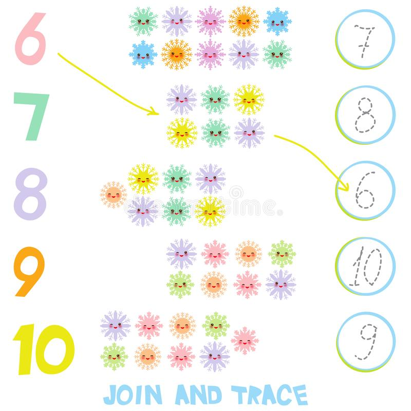 Kids learning number material 6 to 10. Join and Trace. Illustration of Education Counting Game for Preschool Children. Kawaii snow royalty free illustration