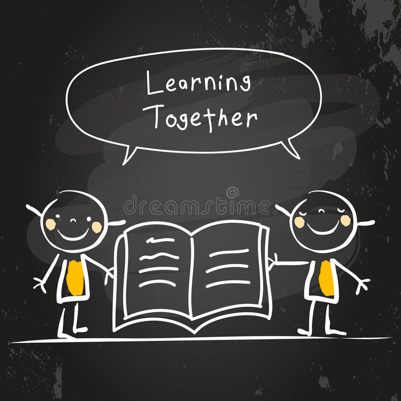 Kids learning together royalty free illustration