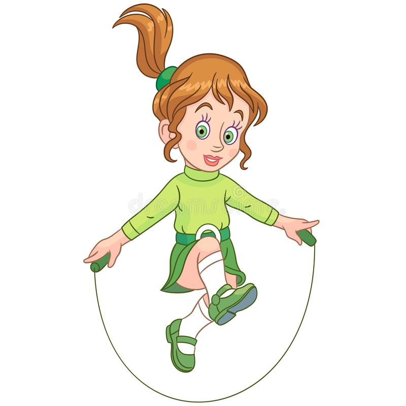 Cartoon girl jumping with rope stock illustration
