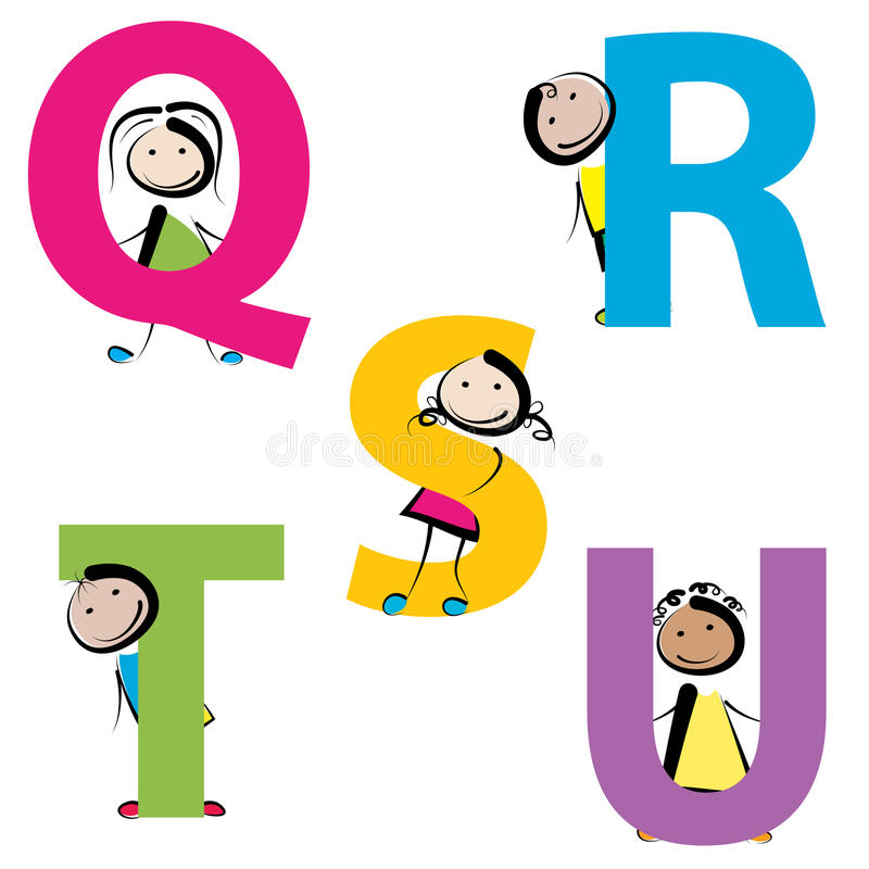 Kids with letters q-u. Funny kids with letters isolated on white background. set-4 royalty free illustration