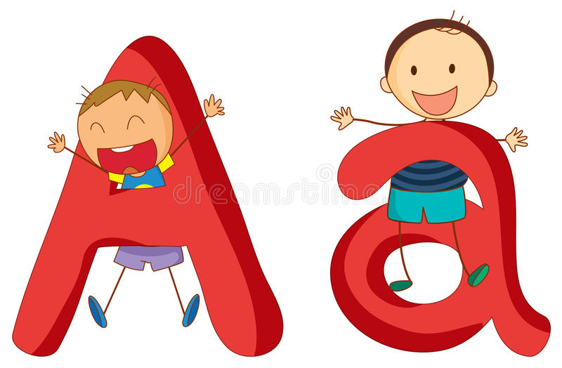 Kids in the letters series stock illustration